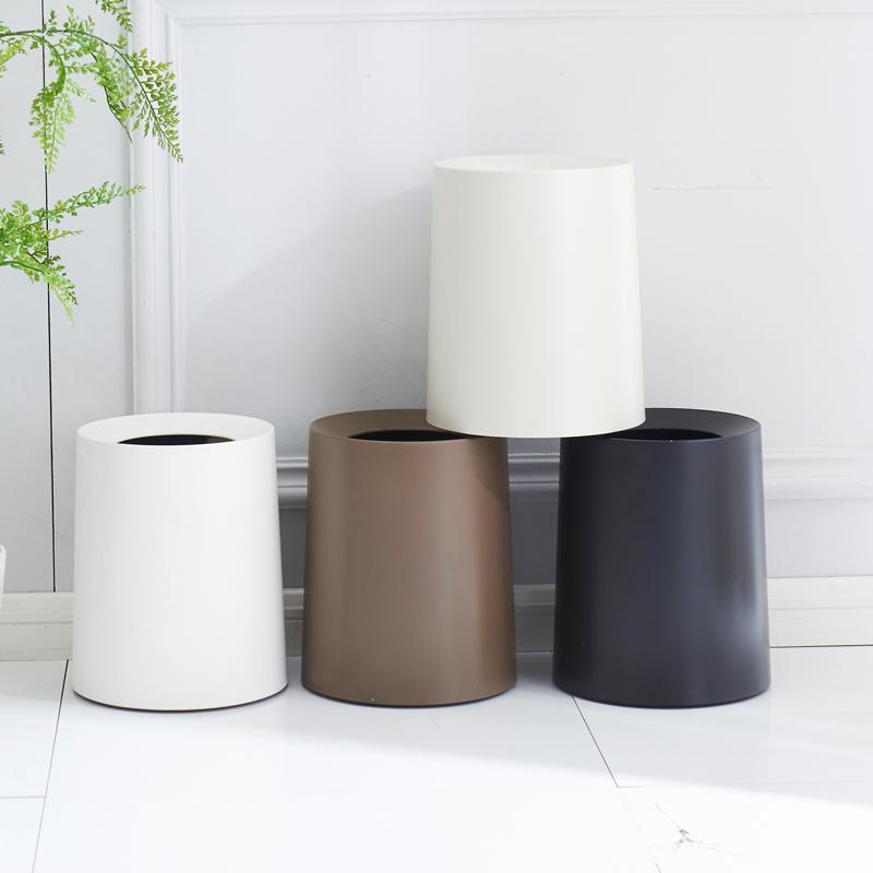 日式垃圾桶家用客廳卧室塑料12L創意圓形雙層無蓋廚房衛生間紙簍