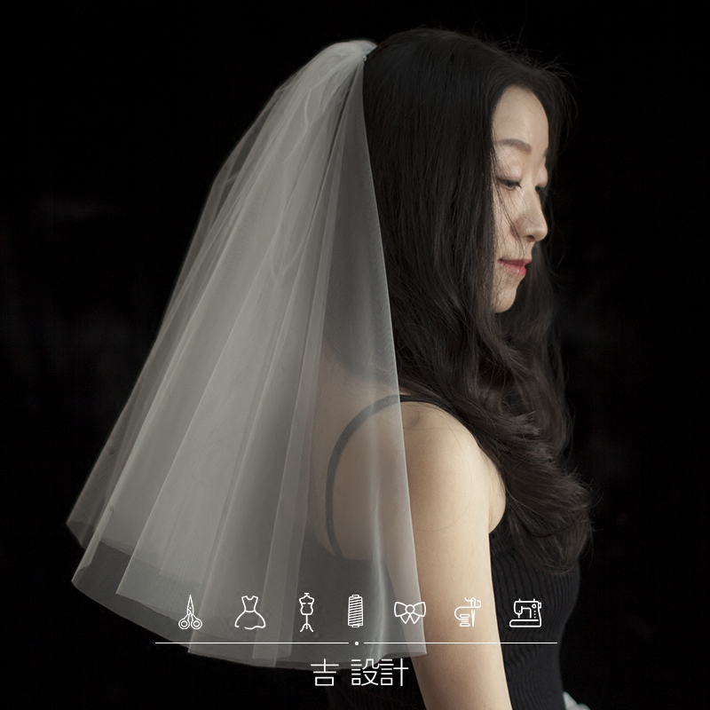 新娘结婚领证纪念日旅拍礼盒装小头纱短纱遮面纱简洁婚纱新款配饰
