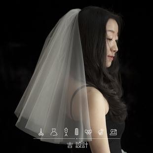 新娘结婚领证纪念日旅拍礼盒装小头纱短纱遮面纱简洁婚纱新款配饰价格