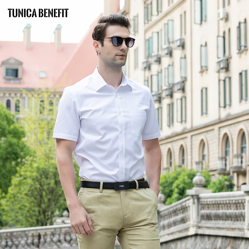Short sleeve shirt summer mens oversized cotton business casual fashion thin cotton formal mens shirt