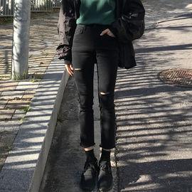 胖妹妹超大弹力牛仔裤女韩版修身显瘦大码高腰九分破洞裤子200斤图片