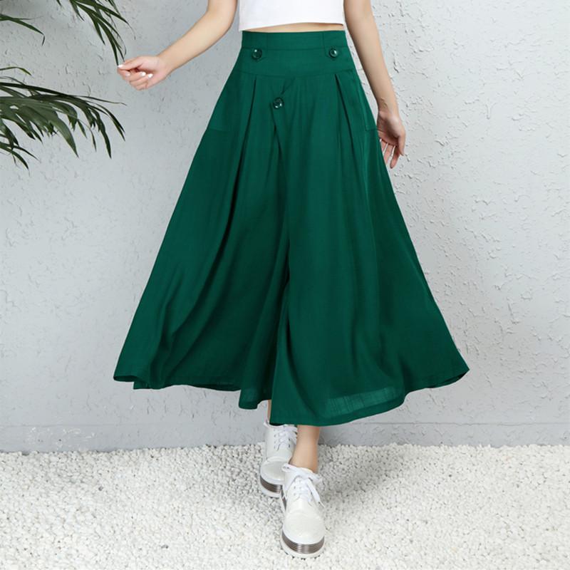 2018新款棉麻阔腿裤女夏季大码纯色九分裤休闲裤裙裤女装宽松裤子