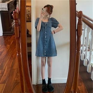 大码牛仔连衣裙女2020夏季新款胖mm收腰显瘦泡泡袖方领气质A字裙图片