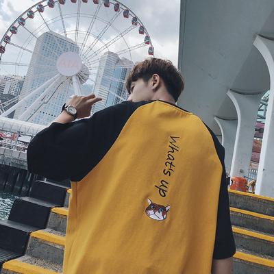 夏季韩拼色短袖T恤宽松潮圆领情侣百搭衣服A412-T521-P45 限价58