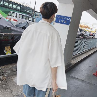 2018港风宽松衬衫男士简约情侣衬衣A412-CS7124-P65 限价78