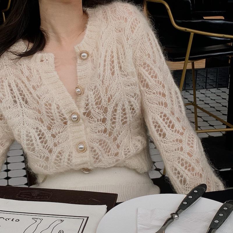 法式马海毛春款白色镂空薄款针织开衫2021年新款毛衣外套女上衣