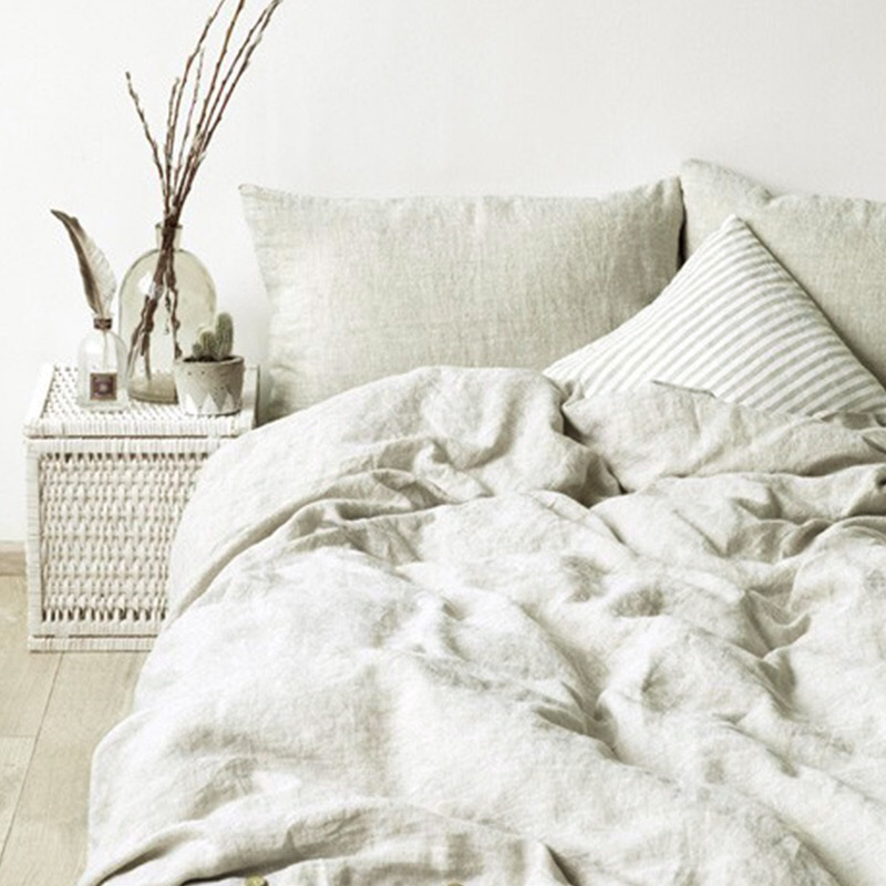 法国进口亚麻四件套欧式简约床单床笠被套纯色三件套被罩床上用品