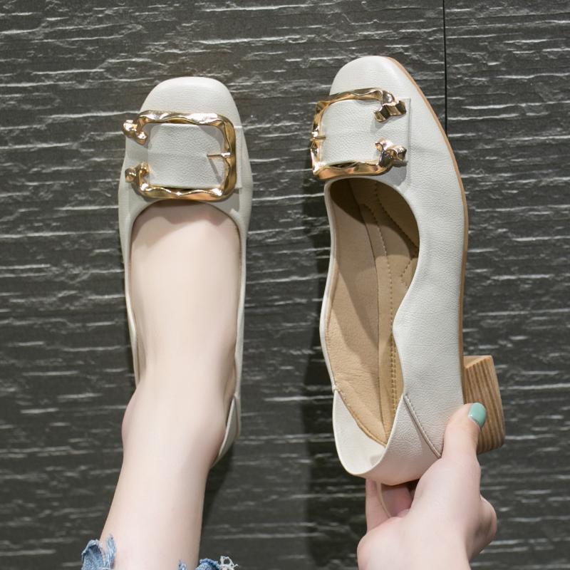 2019春夏新款头粗跟低帮鞋休闲舒适套脚纯色时尚百搭纯色女单鞋