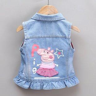 女童牛仔马甲外穿女孩洋气婴儿坎肩 时尚 新款 儿童背心2021宝宝秋季
