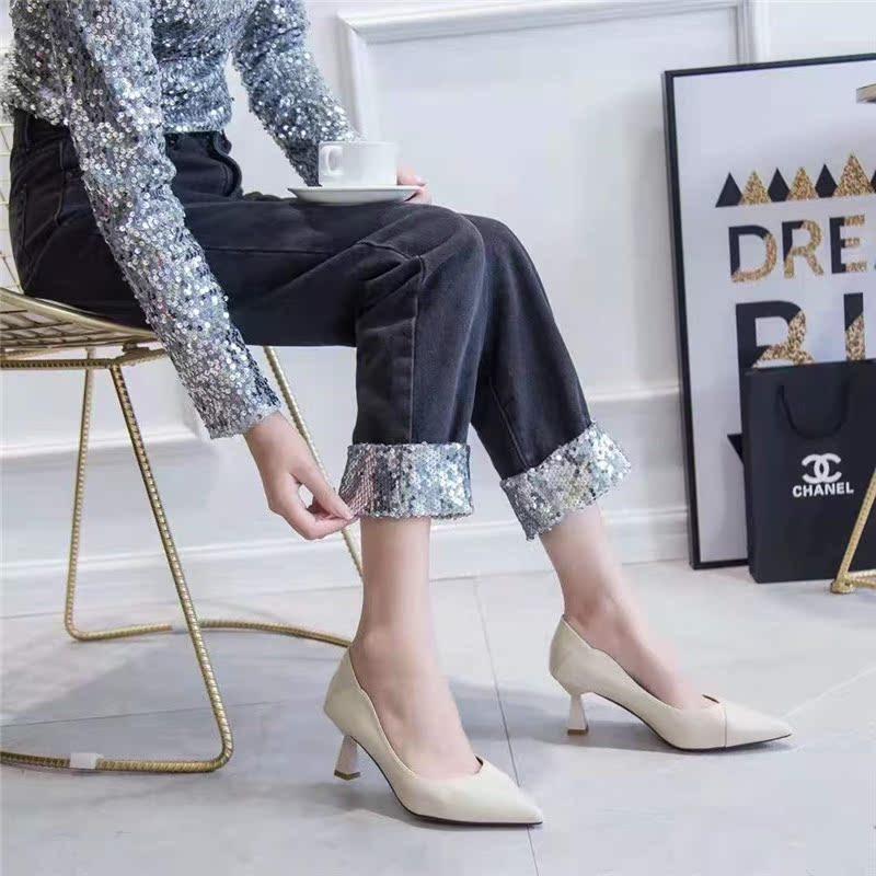 名典正品单鞋2019秋天新款细跟简约上班工作鞋流行高跟女鞋982609