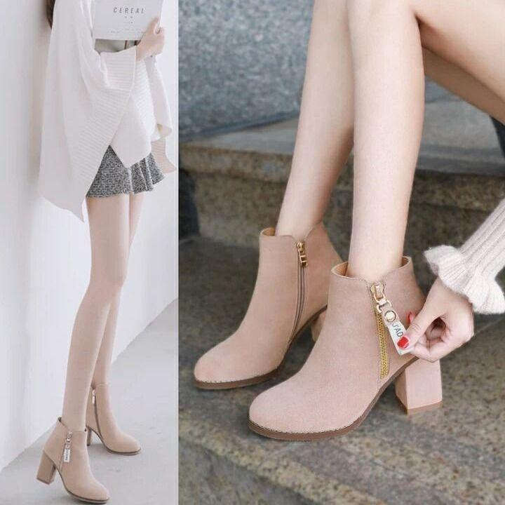 加大码女鞋41 42 43码高跟鞋粗跟春秋冬季裸靴加绒短靴单靴女6CM