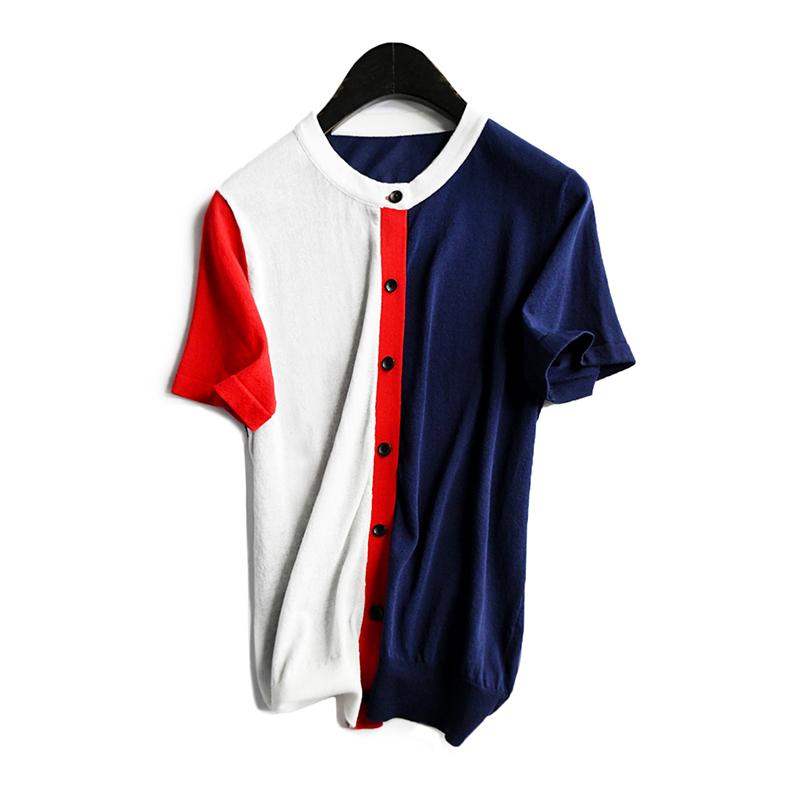 时髦雅致舒爽拼色冰麻短袖2019 t恤(用220元券)