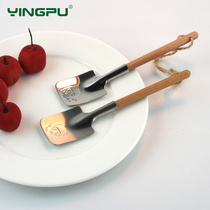 Cherry self-reliant spoon stainless steel shovel creative cute couple gift tableware wooden spade spoon spoon
