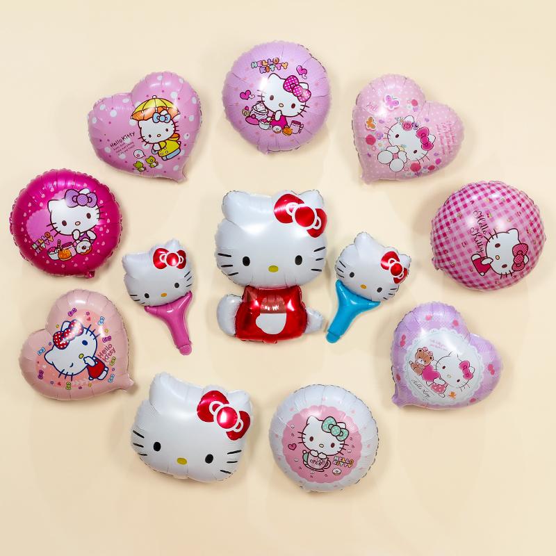 可爱卡通铝膜气球生日派对装饰KT猫气球宝宝周岁装饰布置迷你气球,可领取3元天猫优惠券
