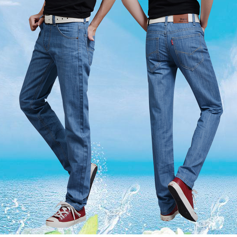 Mens jeans summer slim style spring business casual straight tube loose large trousers light color mens pants fashion