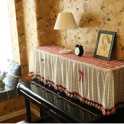 【成品】美式乡村田园红格子蕾丝钢琴罩子钢琴盖巾防尘巾钢琴凳套