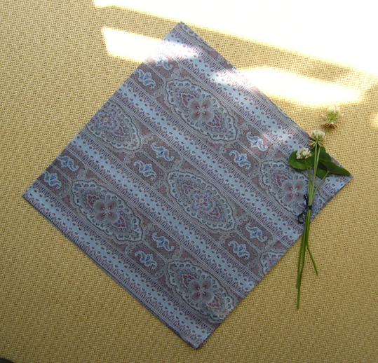民族花纹,灰蓝紫,纯棉小方巾,瑜伽/发带/围脖/头巾/围巾/帕。
