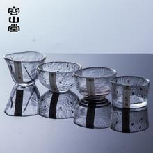 功夫茶具 加厚锤目纹大小个人杯品茗杯 容山堂 日本描金玻璃茶杯