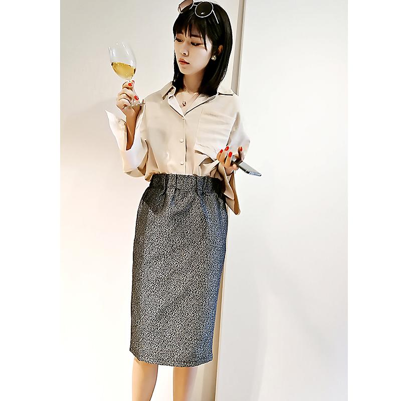 Japanese single high waist commuter metal silver three-dimensional pattern one-step skirt, half skirt, Hip Wrap Skirt