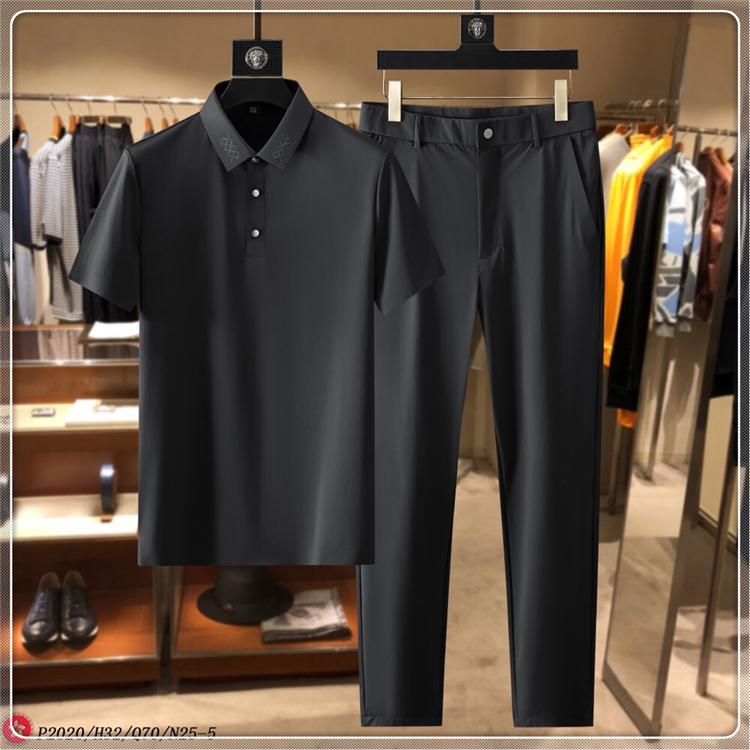 2021年春季新款潮流青年男士修身休闲短袖翻领POLO无痕运动套装