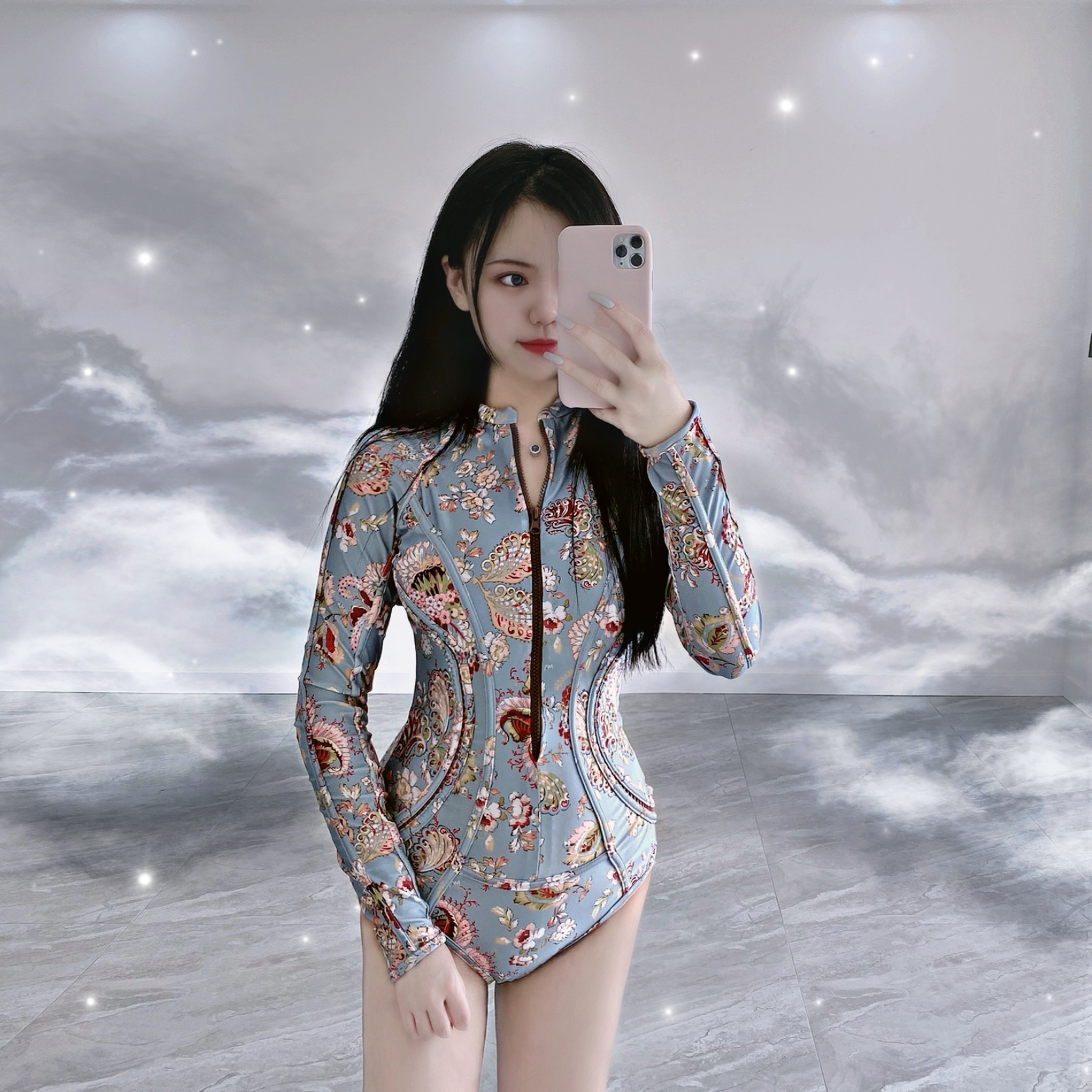 Swimsuit female sexy one piece long sleeve conservative hollow out printing zipper retro triangle swimsuit original design