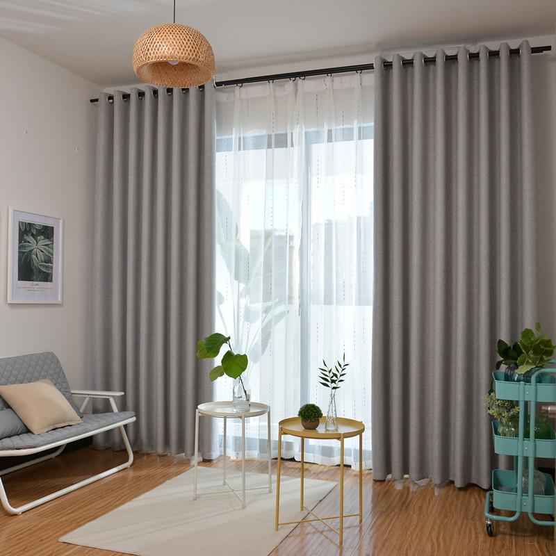 純色の綿麻のカーテンの生地は全遮光ベルベット麻のリビングルームでカーテンをカスタマイズしました。