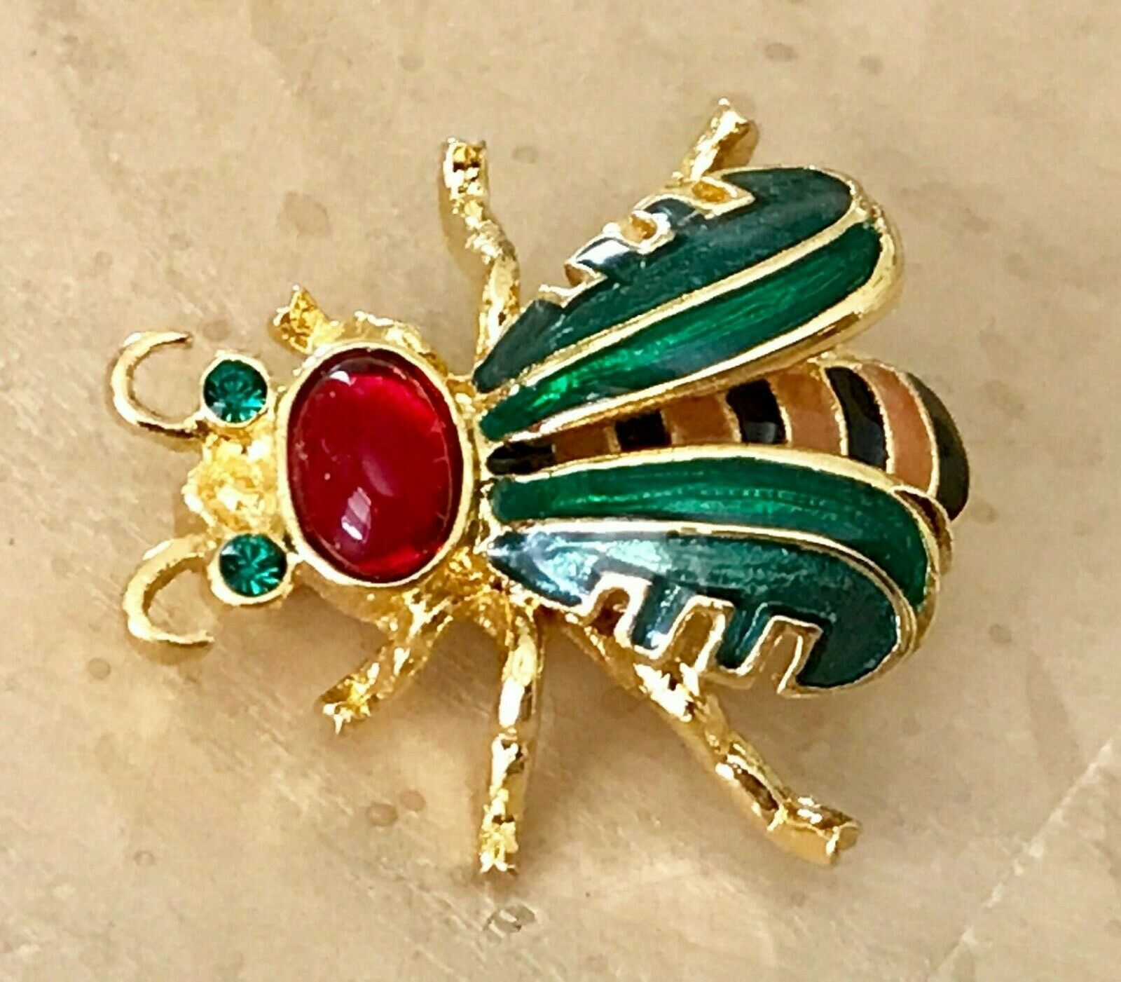 Buy exquisite Brooch Joan Rivers enamel red with Gemstone Bumblebee decorative pin gift