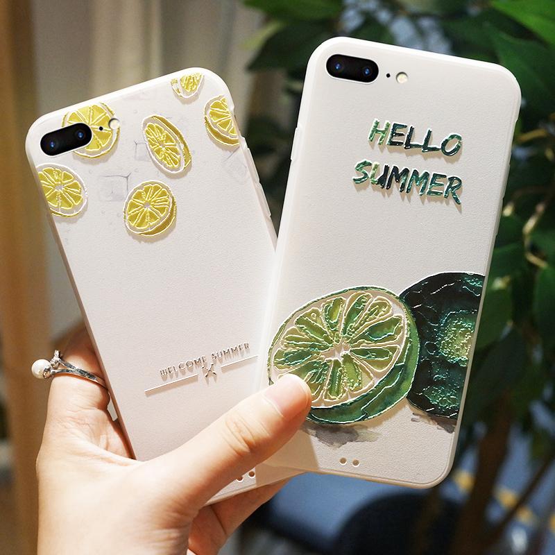 苹果7plus手机壳ins网红女款8全包防摔新款磨砂iphone7夏日清新x个性创意iphonex柠檬六七八6s透明浮雕
