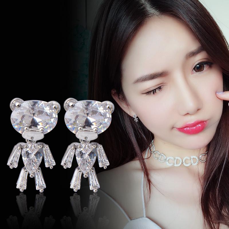 卡通简约S925纯银耳钉韩国气质个性可爱水晶小熊耳环女耳饰品耳坠