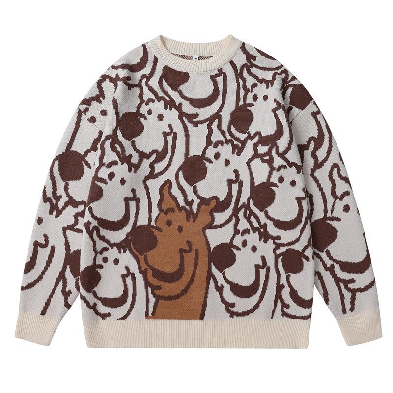 Korean mens loose off shoulder sleeve retro sweater autumn winter straight round neck Pullover mens sweater cartoon sweater