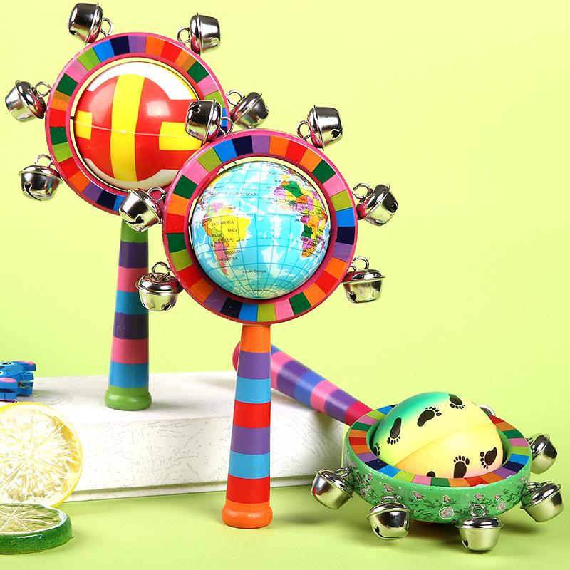 热销彩球木质手摇铃婴幼儿童新生儿环保可啃咬逗乐玩具