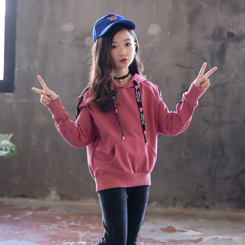 Girls sweater spring and autumn foreign style middle school childrens loose long sleeved top girls winter Korean Plush warm Hoodie