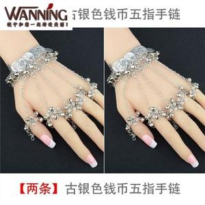 手链戒指一体紫霞仙子手链女古风流苏古风手链女款新娘连指带戒指