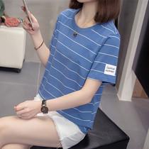 大码女装遮肚上衣体恤200斤胖妹妹宽松显瘦短袖T恤韩版洋气打底衫