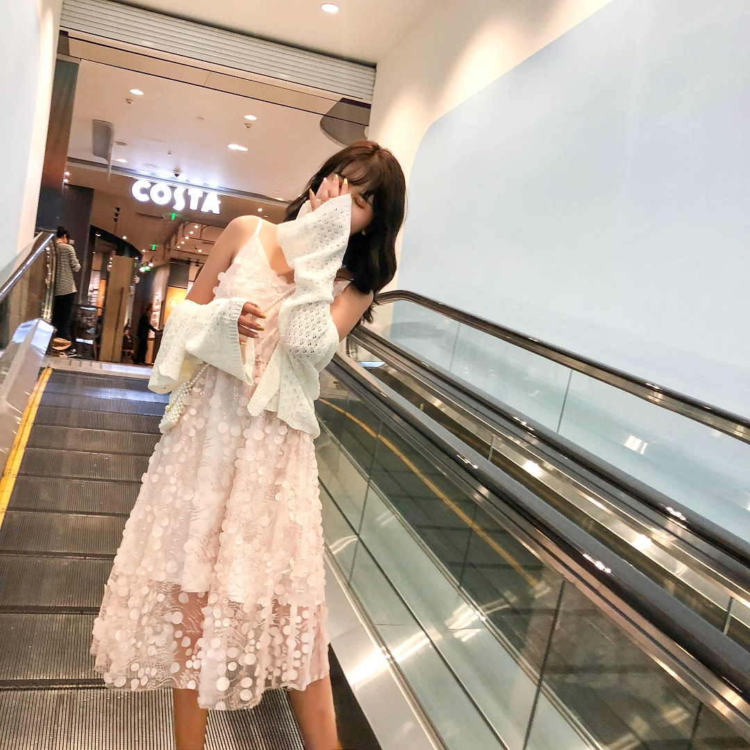 Dress new women summer long dress small middle length slim waist show thin fashion temperament suspender skirt sequins