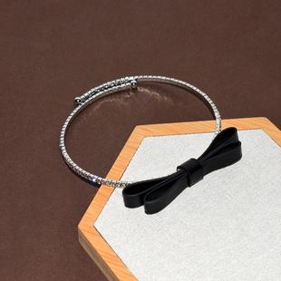 韓版閃鑽choker項圈絨布立體蝴蝶結頸鍊鑲滿鑽頸圈女網紅簡約項鍊