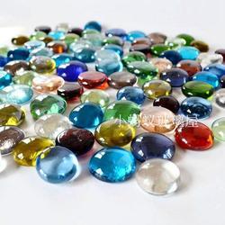 包邮玻璃扁珠子金鱼缸水族造景彩色石头七彩玻璃石家装彩石扁珠