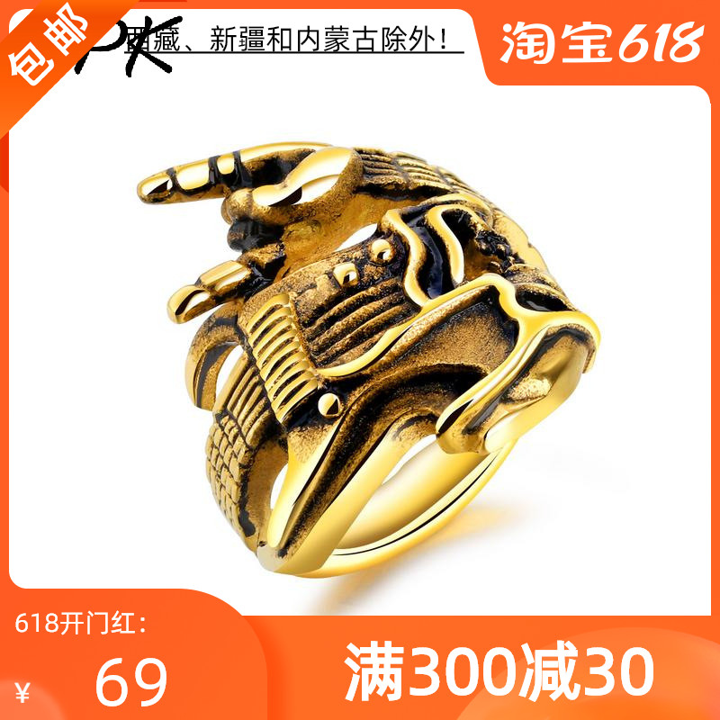 European and American titanium steel mens ring fashion rock hip hop Skeleton Guitar victory gesture instrument single ring