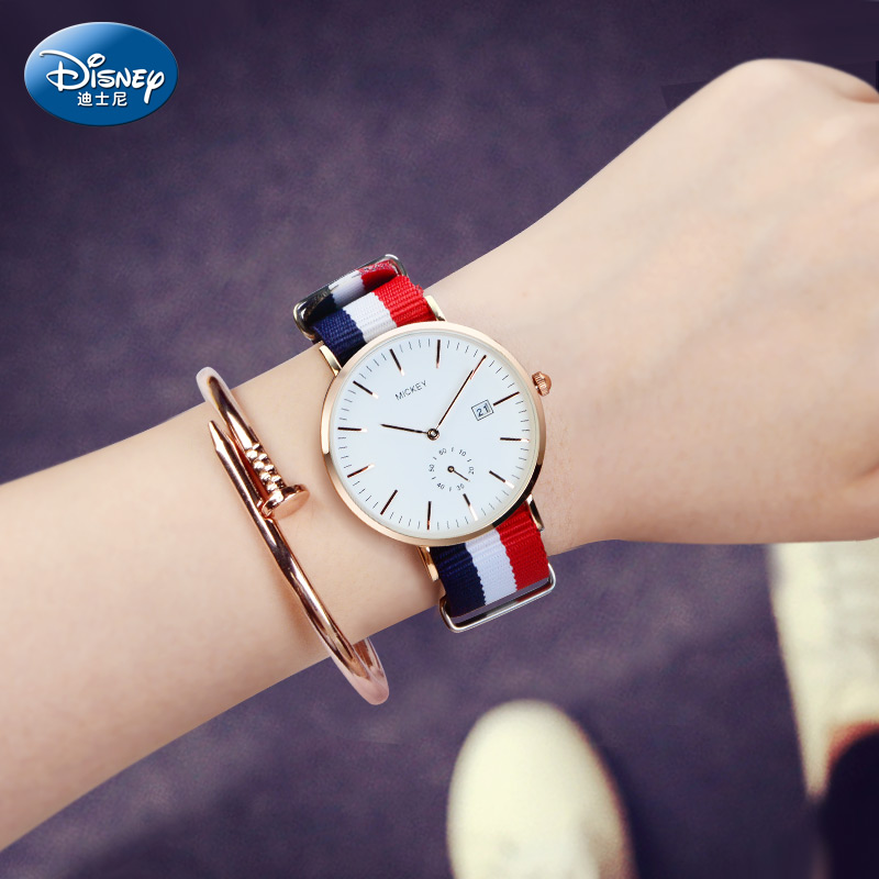 迪士尼手表女学生简约韩版潮流防水ulzzang女生大气帆布女士手表