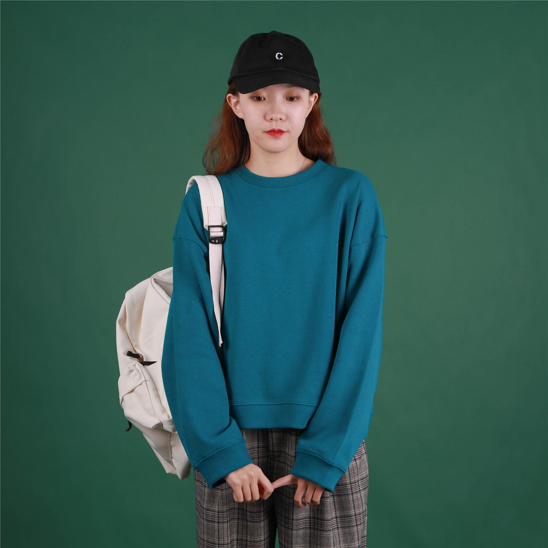 孔雀蓝小个子圆领短款卫衣女纯色显瘦慵懒百搭学生上衣秋冬短外套图片