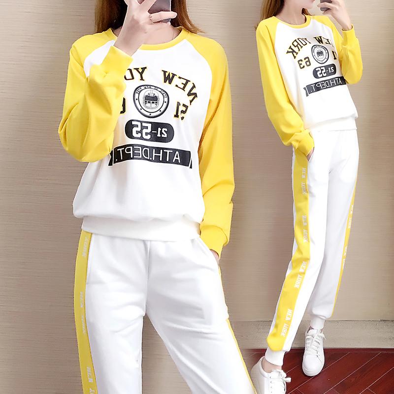 休闲运动套装女2019春秋季新款韩版卫衣配裤子两件套潮