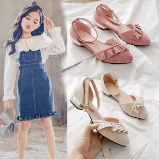 女童包头凉鞋8-10-15岁中大童平底单鞋高跟公主鞋初中小学生凉鞋