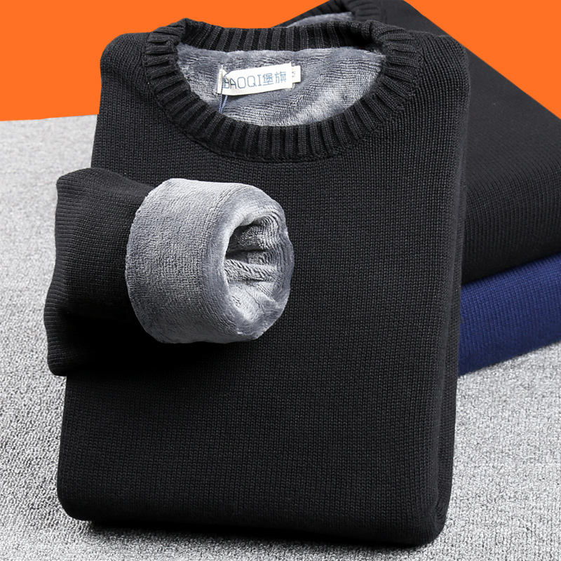 Plush and thickened sweater mens youth Winter round neck warm bottomed sweater low neck winter mens dad