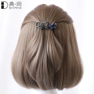 夹子头饰发夹女韩国复古蝴蝶结卡子发夹后脑勺顶夹成人发卡弹簧夹