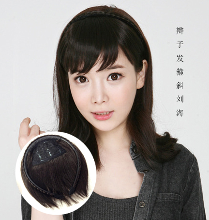 Braided wig with slanted bangs and hairband for women