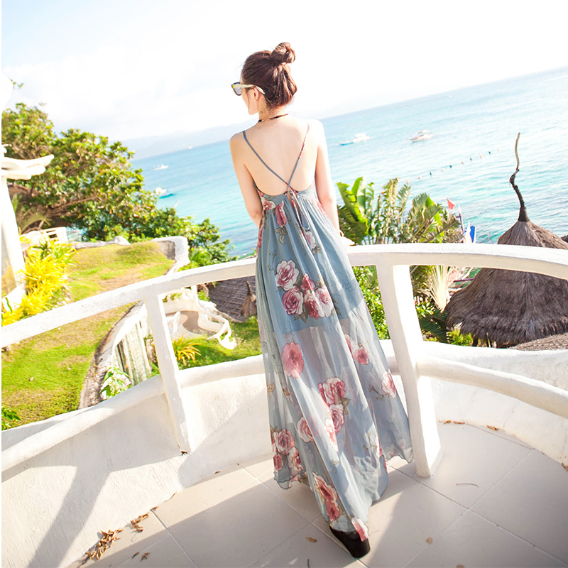 沙滩裙女夏2019新款海边度假波西米亚长裙泰国海南三亚显瘦连衣裙