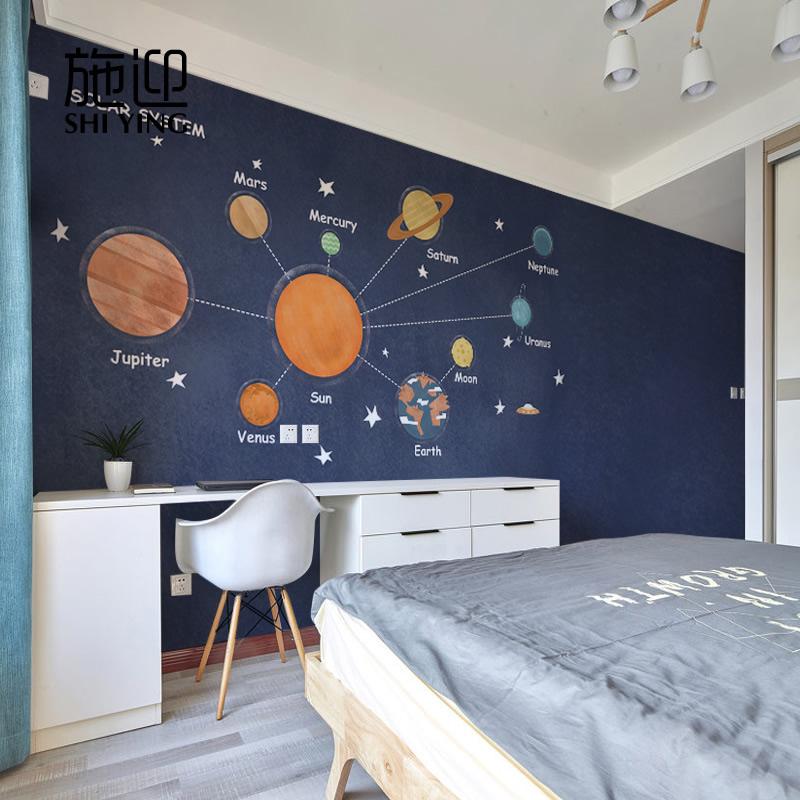 子供の部屋の壁紙漫画宇宙の壁紙、ベッドルームの壁、男の子の壁画不織布壁紙