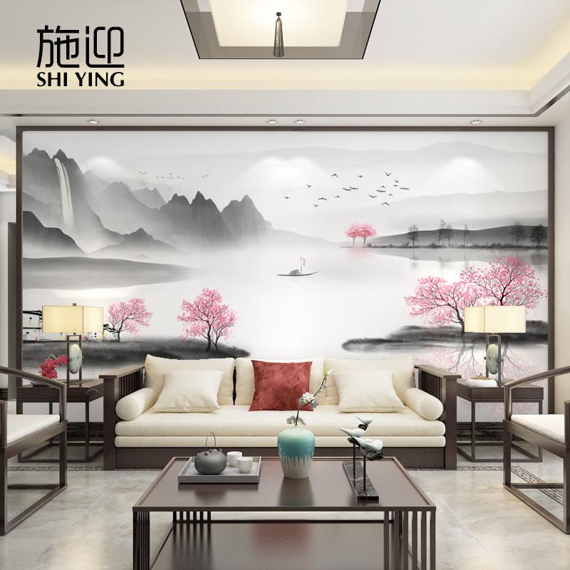 新しい中国式テレビの背景壁の壁画リビングルームの壁に中国風の桃の花の壁紙を配置します。