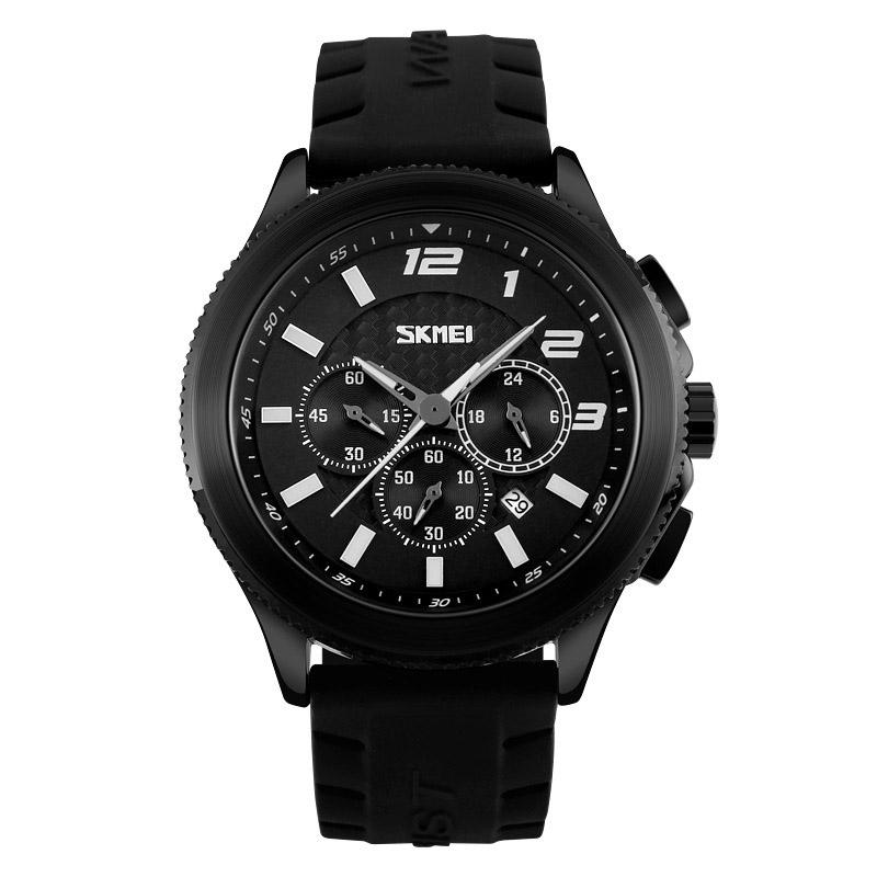 复古黑色硅胶手表小三针石英表防水日历三眼六针腕表时尚潮流男表