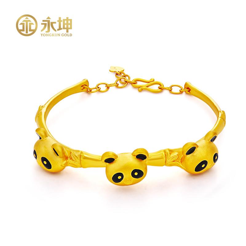 Yongkun gold bracelet gold full gold 999 real gold female Bracelet 3D hard gold cartoon panda bracelet bracelet female gift
